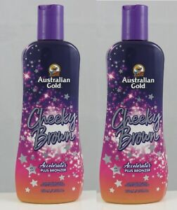 2 New Australian Gold Cheeky Brown Tanning Bed Lotion 8.5 oz Bottles
