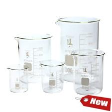 Scientific Glass Lab Pyrex Beaker Piece Set Measuring Cup Measure Test Mixing