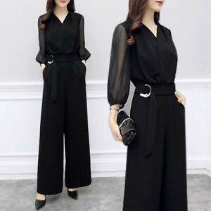 Womens High Waist Chiffon Solid 3/4 Sleeve Overall Jumpsuits Wide Legs Trousers