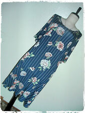 Jesse & J Blue Floral Striped A Line Shift Dress With Pearl Tassel Necklace 2X