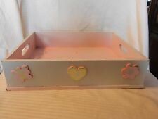 Medium Pink  & Green Bed Tray or Storage Tray with Handles Heart, Flowers