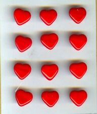 12 RED GLASS HEART BUTTONS - G46
