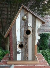 "Rustic Handmade Barn Wood ""DOG PATCH"" Birdhouse w/ Antique Bedspring Perch"