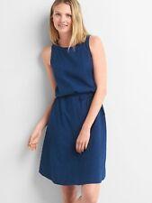 NWT Gap Denim dobby sleeveless dress Dark Indigo SIZE ST S T        #717685 v926