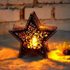 Hollow Candle Holder Candlestick Metal Light Romantic Tabletop Pentagram Gifts