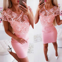 Womens Evening Party Ladies Short Sleeve Lace Cocktail Bodycon Party Mini Dress