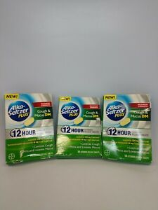 Alka-Seltzer Plus Cough & Mucus DM 14 Tabs. Lot of 3 Exp02/21 As Pics Free Ship