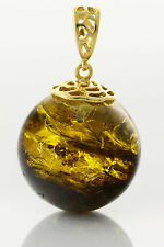Fossil SPIDER Round Bead 24mm BALTIC AMBER Silver Gold Plated Pendant 10.3g p24