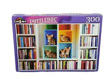 """Puzzlebug 300 piece Jigsaw Puzzle """"LIBRARY KITTENS"""" 18""""X11"""" Family Fun"""