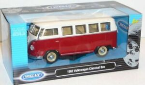 Welly 1/24 , VW T1 Bus 1962 - Red/White ,Classic Metal Model bus/camper