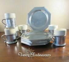 SIX Wilton Cast Aluminum Pewter Mulberry Hill Plates & Cups with Ceramic Inserts