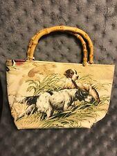 Dog Lovers Rachel & Co NY Hunting Dog Bamboo Handle Handbag Bag Purse