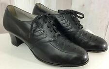 "1930s True Vintage Shoes 2""Heels Black Leather Lace Up Oxfords Pinup 40s"