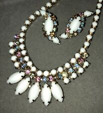Vintage Retro Milk Glass & Multi Color Rhinestone Gold Tone Necklace Earring Set