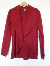 Knitted & Knotted size M burgundy shawl collar open long cardigan sweater