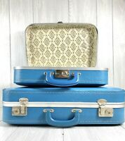 Vintage Blue Nesting Suitcases Clean And Classy