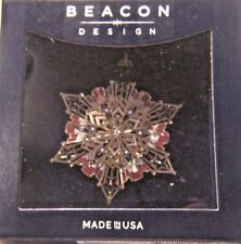MADE IN THE USA GOLD-PLATED SOLID BRASS CHEMART AMERICANA SNOWFLAKE ORNAMENT
