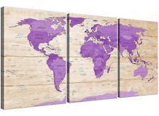 Crema Púrpura Grande Mapa Del Mundo Atlas Lona Pared Arte-Multi Panel 3 - 3312