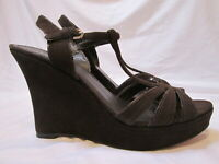 Coach Coffee Brown Leather Suede Gabby Wedge Strappy Sandals Women's US size 8M