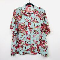 Vintage Womens Floral Blouse Shirt Rose Light Blue Button Front Sheer Size 14