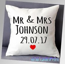 "PERSONALISED WEDDING CUSHION 16""x16"" GIFT MR AND MRS PRESENT ANNIVERSARY"