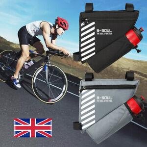 Bicycle Cycling Triangle Front Frame Tube Bag Bike Pannier + Bottle Pocket UK