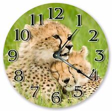 "10.5"" MOTHER AND BABY CHEETAH CLOCK - Large 10.5"" Wall Clock - Home Décor - 3136"