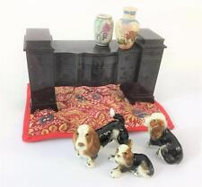 Dollhouse Miniature Lot Vtg Mix 7 pc Lot Basset Dog Hagen Ideal Young Decorator