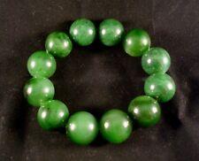 Canadian Top Grade Bright Green Translucent Jade 20mm 12PCs  Beads Bracelet