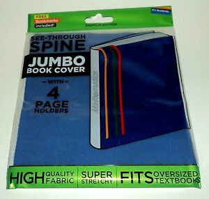 IT'S ACADEMIC See-Through Spine JUMBO Book Cover With 4 Page Holders BLUE NIP