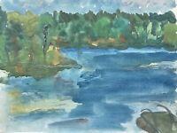 Expressives Aquarell Morgendämmerung am Waldsee Ufer mit Badesteg und Bäumen