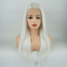Meiyite Hair Straight Long 24inch White Half Hand Tied Synthetic Lace Front Wig