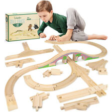 42-piece Wooden Train Set - Bulk Booster Pack Compatible with Major Brands