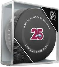 Colorado Avalanche Official 25th Anniversary Nhl Game Puck (in Display Cube)