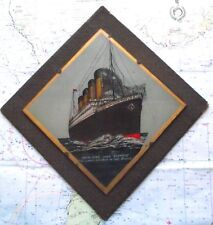Original RMS Olympic Titanic Crystoleum Glass Plaque