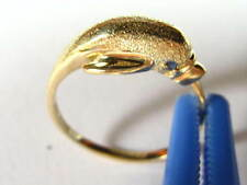 10K Yellow Gold Textured Dolphin Ring w/ Sapphire Eyes -- Size 6 1/4