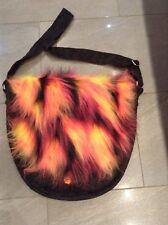 Handmade Funky Fur Messenger Adjustable Shoulder Bag in Black Chenille