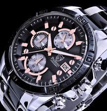 Pierrini Herren Armband Uhr Schwarz Rose Gold Silber Farben Chronograph Stoppuhr