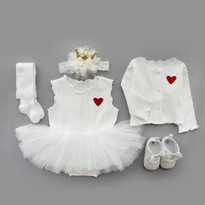 baby girls princess dress+cardigan+headband birthday wedding party outfits TUTU