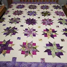 Purple Spinning Star Hand Home made Quilt Machine Quilted Dragonflies 82X82