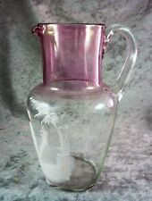 WONDERFUL ANTIQUE VINTAGE HAND PAINTED MARY GREGORY JUG RUBY FLASH C 1940