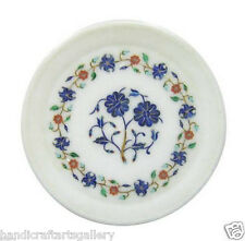 "8""x8"" White Marble Serving Plate Lapis Lazuli Floral Inlay Wall Decorative Gifts"