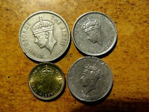 FOUR OLD HONG KONG COINS: 1951 50 CENT 1937 10 CENT (2) 1967 ONE CENT
