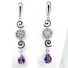 Sterling Silver 925 Genuine Purple Amethyst,Blue Tanzanite & Swirl Earrings
