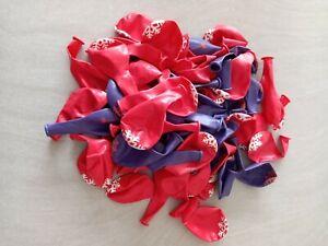 Lot de 70 ballons de baudruche rouge et violet en vrac