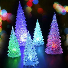 LED Crystal Color Changing Mini Christmas Tree Night Light Lamp Home Decor
