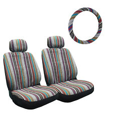 5Pc Universal Baja Inca Saddle Mexican Blanket Seat Covers steering wheel Cover