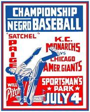 Negro League Poster Kc Monarchs (Satchel Paige) vs Chicago Giants - 8 x10 Photo