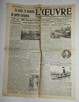 N725 La Une Du Journal L'œuvre 17 juillet 1931 aviateurs hongrois Magyar endresz