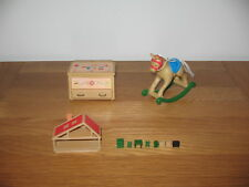 SYLVANIAN FAMILIES Vintage rocking horse, toy box, miniature house & furniture